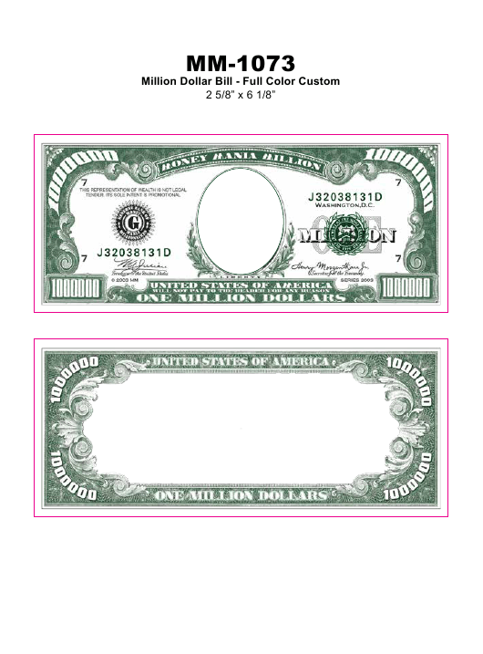 Full Color Million Dollar Bill Template Download Pdf