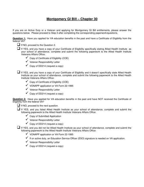 """Montgomery Gi Bill - Chapter 30 Checklist"" Download Pdf"