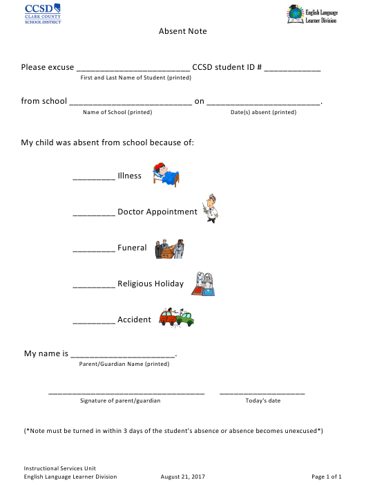 """School Absent Note Template - Clark County School District"" Download Pdf"