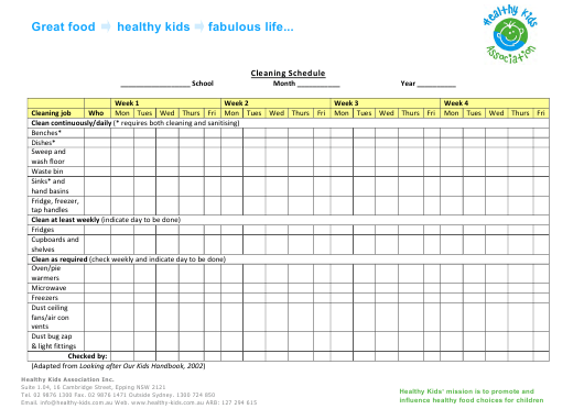 """Weekly Cleaning Schedule Template - Healthy Kids Association Inc."" Download Pdf"