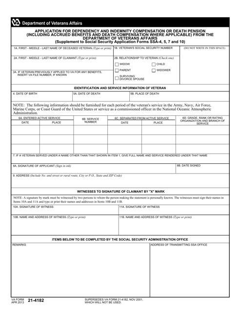 VA Form 21-4182 Printable Pdf