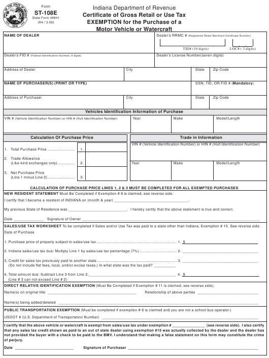 Pay Indiana Sales Tax >> Form St 108e Download Fillable Pdf Or Fill Online