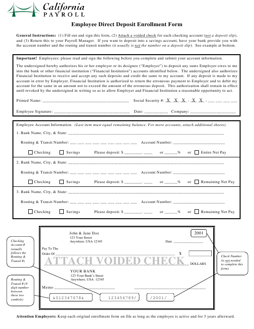 """Employee Direct Deposit Enrollment Form - Califonia Payroll"" - California Download Pdf"