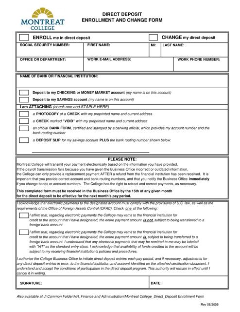 Direct Deposit Enrollment and Change Form - Montreat College - North Carolina Download Pdf
