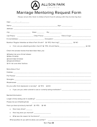"""Marriage Mentoring Request Form - Allison Park Church"" - Pennsylvania"
