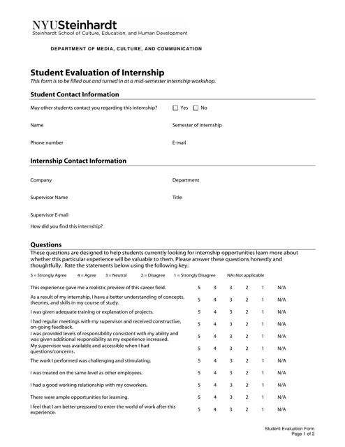 """""""Student Evaluation of Internship - Nyu Steinhardt"""" Download Pdf"""