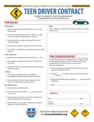 """Teen Driver Contract Template - Insure U"""
