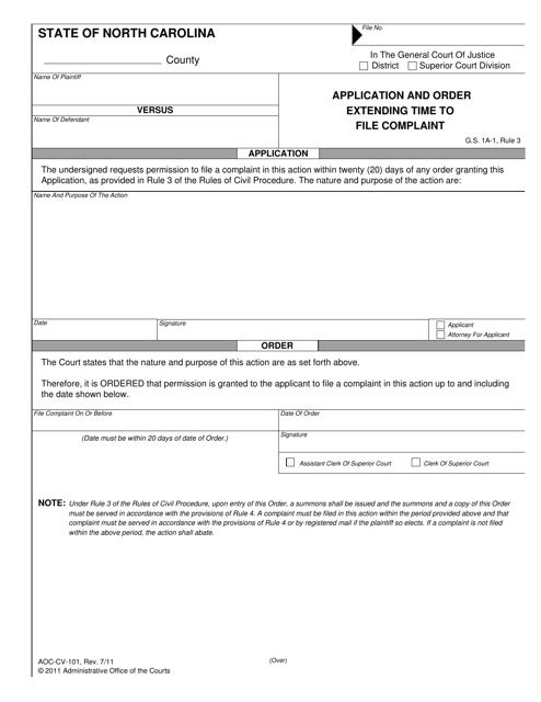 Form AOC-CV-101  Printable Pdf