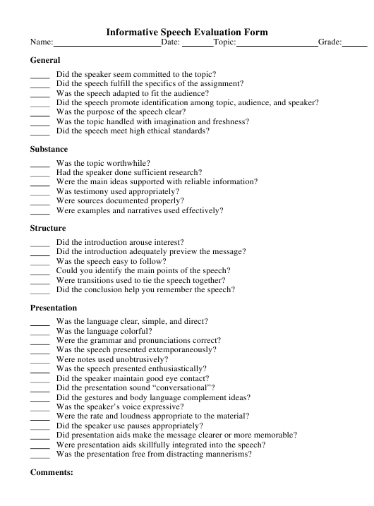 """Informative Speech Evaluation Form"" Download Pdf"