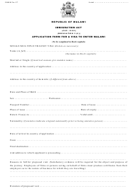 "Form 27 ""Application Form for a Visa to Enter Malawi"" - Malawi"