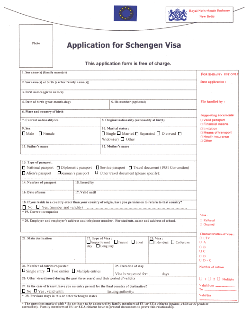 """Schengen Visa Application Form - Royal Netherlands Embassy in New Delhi"" - New Delhi, Delhi, India Download Pdf"