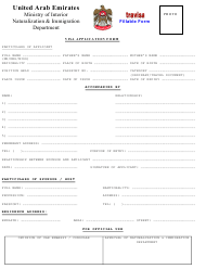 United Arab Emirates Visa Application Form - United Arab Emirates