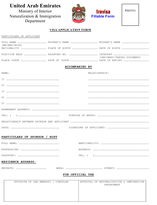 United Arab Emirates United Arab Emirates Visa Application Form Download Fillable Pdf Templateroller