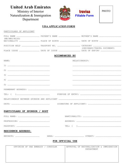 """United Arab Emirates Visa Application Form"" - United Arab Emirates Download Pdf"