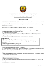 London Greater London United Kingdom Mozambique Visa Application Form High Commission For The Republic Of Mozambique Download Printable Pdf English Spanish Templateroller