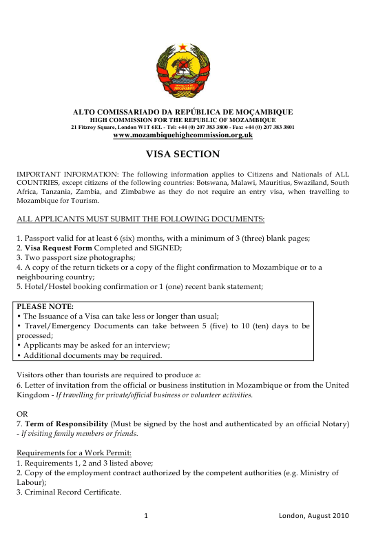 """""""Mozambique Visa Application Form - High Commission for the Republic of Mozambique"""" - London, Greater London, United Kingdom (English/Spanish) Download Pdf"""