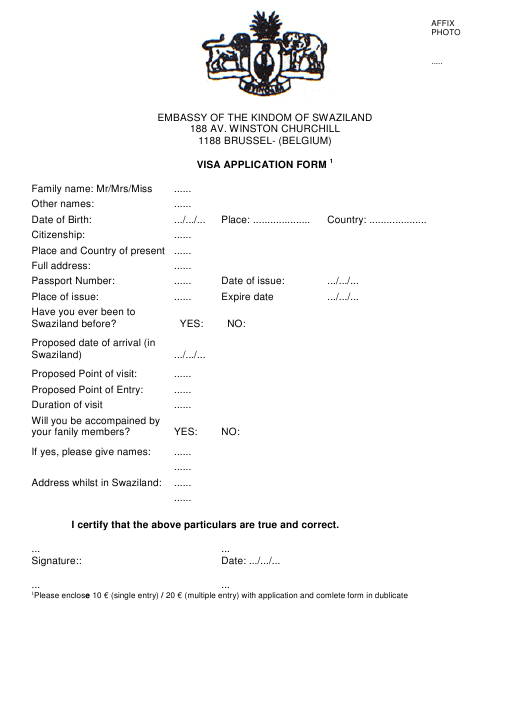 Visa Application Form Belgium Emby on