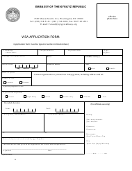 """Kyrgyz Visa Application Form - Embassy of the Kyrgyz Republic"" - Washington, D.C."