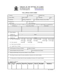 """Zambia Visa Application Form - Embassy of the Republic of Zambia"" - Washington, D.C."