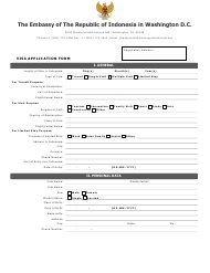 """""""Indonesian Visa Application Form - the Embassy of the Republic of Indonesia"""" - Washington, D.C."""