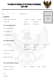 """""""Indonesian Visa Application Form - the Consulate General of the Republic of Indonesia"""" - Cape Town, Western Cape, South Africa"""