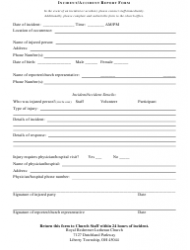 Incident/Accident Report Form - Royal Redeemer Lutheran Church