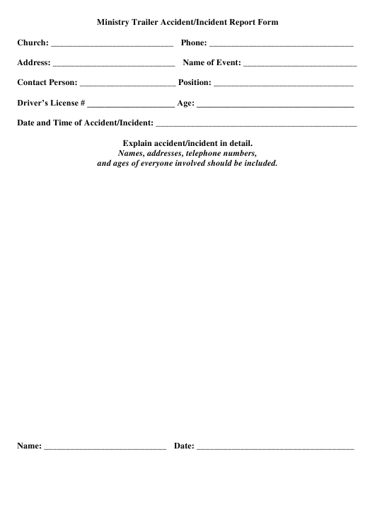 """""""Ministry Trailer Accident/Incident Report Form"""" Download Pdf"""