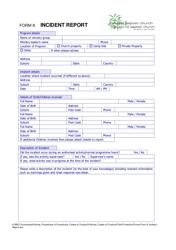 """Incident Report Form - Birkdate Baptist Church, Cannon Hill Baptist Church"""
