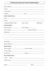 Church Incident Report Form - Presbyterian Church of Victoria