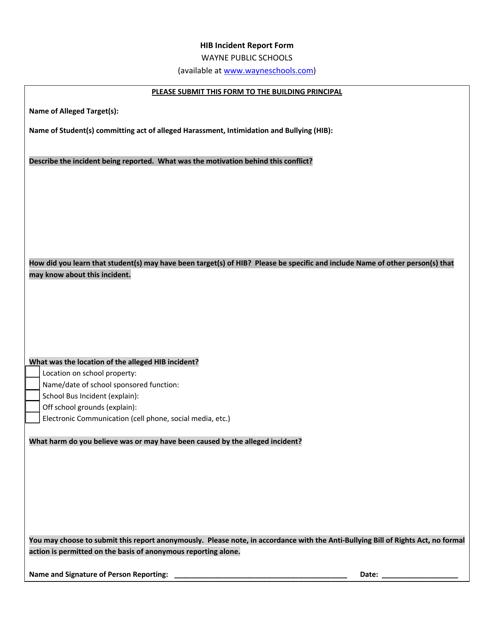 """""""Hib Incident Report Form - Wayne Public Schools"""" Download Pdf"""