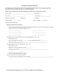 """Alcohol Incident Report Form - Topshelf"""