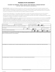 Student Or General Public Injury And Property Damage Report Form - Truman State University
