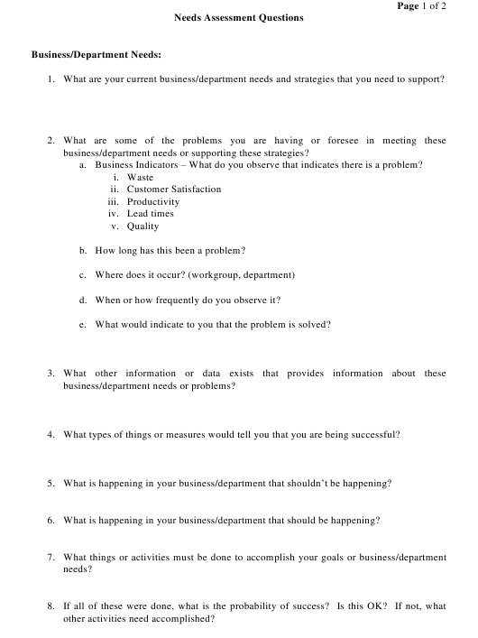 Needs Assessment Questionnaire Download Printable Pdf Templateroller Personality questionnaires assess personal behavioural preferences, that is, how you like to work. needs assessment questionnaire download
