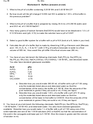 """""""Buffers Chemistry Worksheet With Answers - Dr. White"""""""