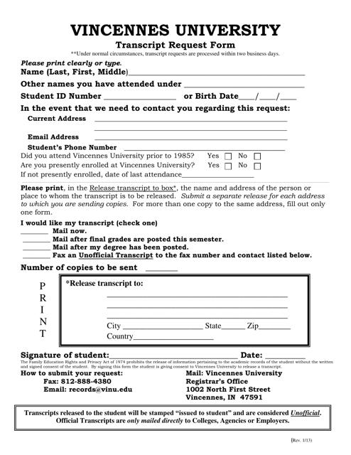 """""""Transcript Request Form - Vincennes University"""" Download Pdf"""