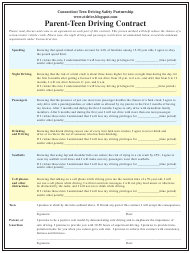 """""""Parent-Teen Driving Contract Template"""" - Connecticut"""