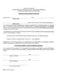 Request for Eligibility Review Form - Florida