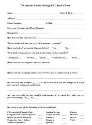 """Massage Patient Intake Form - Therapeutic Touch Massage Llc"""