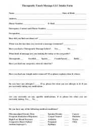 Massage Patient Intake Form - Therapeutic Touch Massage Llc