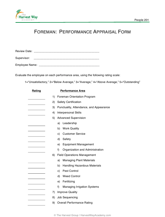 """Performance Appraisal Form - the Harvest Way Academy"" Download Pdf"