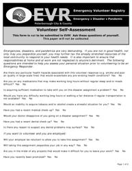 Emergency Responder Volunteer Self-assessment Form - Peterborough City & County - Canada
