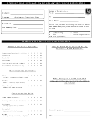 """Student Self-evaluation of Volunteer/Work Experience - Victoria High School"""
