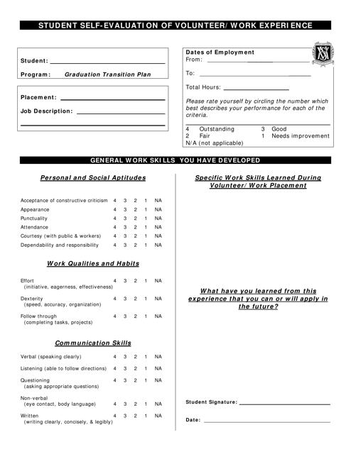 """Student Self-evaluation of Volunteer/Work Experience - Victoria High School"" Download Pdf"