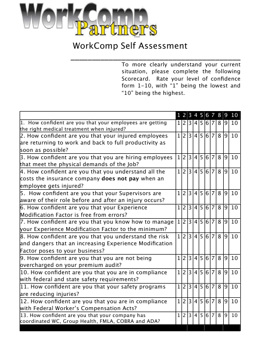 """Business Self Assessment Template - Workcomp Partners"" Download Pdf"