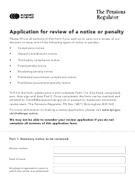 """Application for Review of a Notice or Penalty"" - United Kingdom"