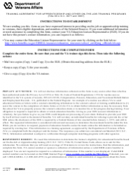 VA Form 22-8864 Training Agreement for Apprenticeship and Other on-The-Job Training Programs