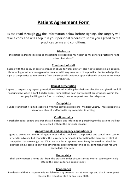 Patient Agreement Form - United Kingdom Download Pdf