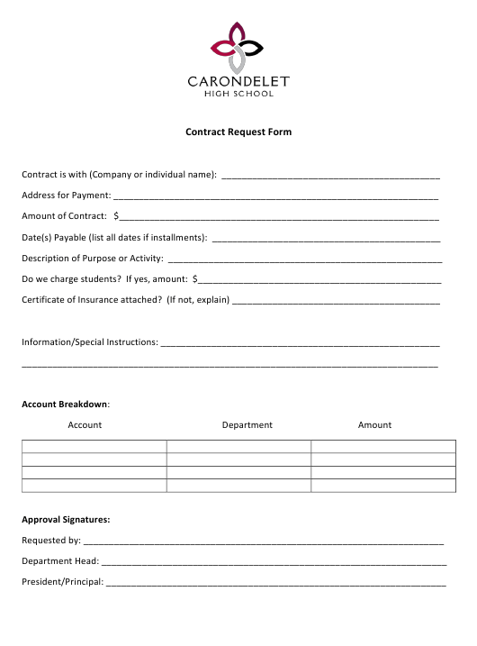 """Contract Request Form - Carondelet High School"" Download Pdf"