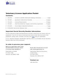 "Form DOH672-033 ""Veterinary Medicine, Surgery and Dentistry Application Packet"" - Washington"