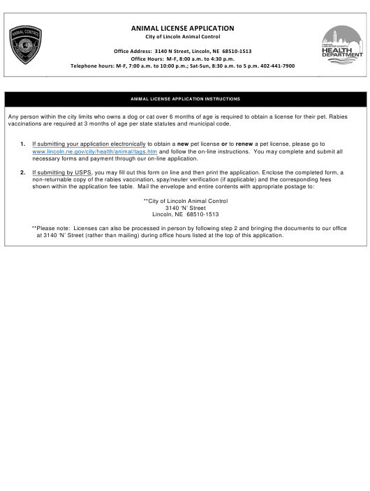 """Animal License Application Form"" - City of Lincoln, Nebraska Download Pdf"